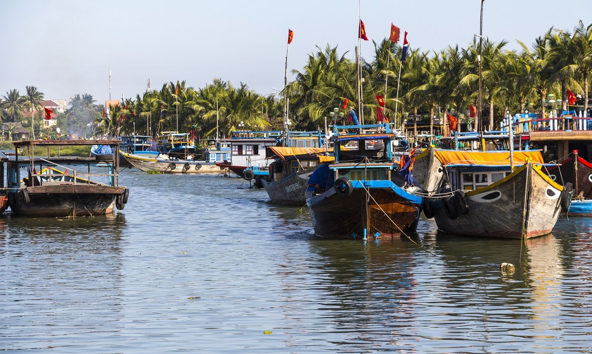 Traditional boats in Hoi An's Old Town, Vietnam